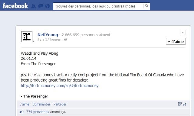 Neil Young à propos de Fort McMoney