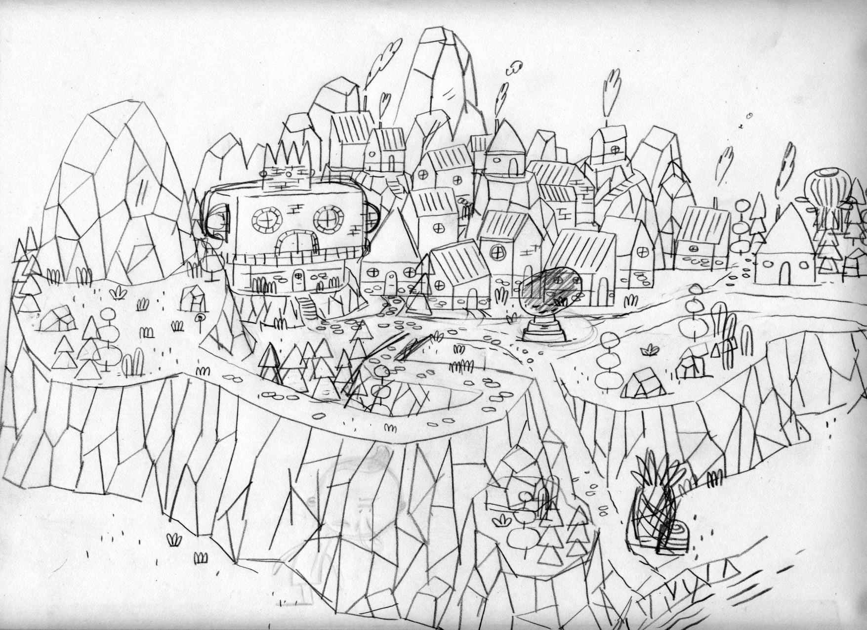 Esquisse du village de Patateland tel qu'imaginé par Patrick Doyon, l'illustrateur du jeu.