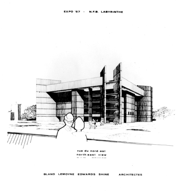 Labyrinth Pavilion sketch for Expo 67 Montreal